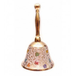 Dzwonek mosiężny Biały wys. 10 cm