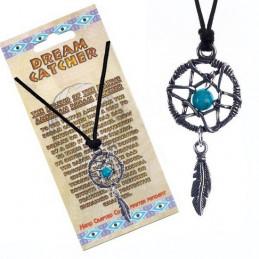Naszyjnik na sznurku DREAM CATCHER - Łapacz snów z niebieskim kamykiem