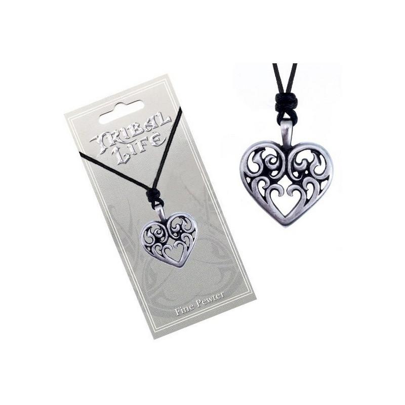 Naszyjnik na sznurku TRIBAL LIFE - Serce z ornamentami