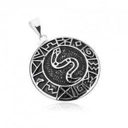 Wisiorek ze stali chirurgicznej - Wąż otoczony starożytnymi symbolami