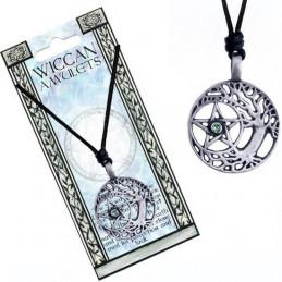 Naszyjnik na sznurku WICCAN AMULETS - Drzewo Druidów z pentagramem