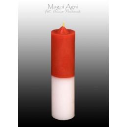 Świeca cofająca czerwono - biała (wosk naturalny) 11 x 3 cm