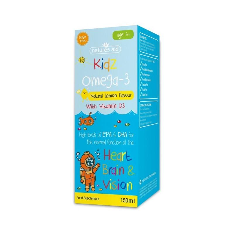 Kidz Omega-3 z witaminą D3 krople dla dzieci od 6 roku (150ml) Nature's Aid