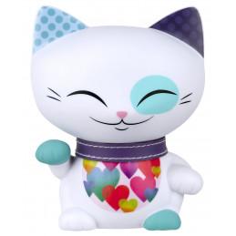 """Figurka MANI CAT """"The Lucky Cat"""" Kotek biały z fioletową obróżką (11cm)"""