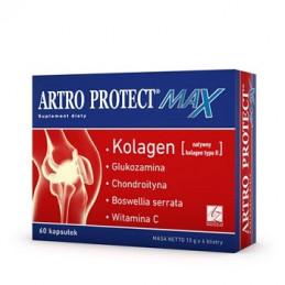 Artro Protect max kolagen, glukozamina,chondroityna,kw.boswolinowy,wit.C 60 kaps. Stawy A-Z MEDICA