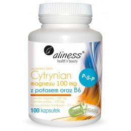Cytrynian Magnezu 100 mg z potasem 150 mg, B6 (100 kapsułek VEGE) Aliness