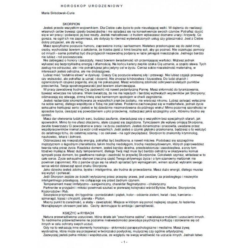Horoskop urodzeniowy-opis elektroniczny