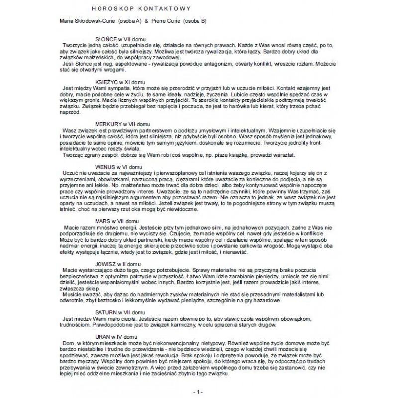 Horoskop kontaktowy - opis drukowany