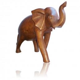 Figurka słonia wylonana z drewna Suar (16 cm) - bez kłów