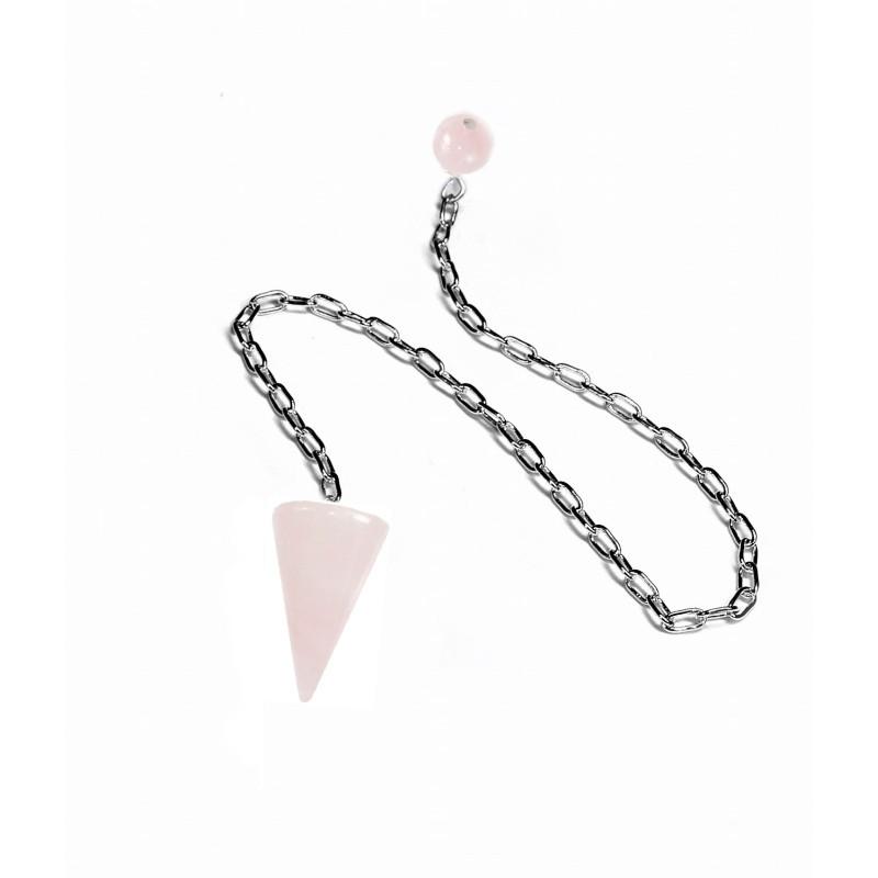 Wahadło stożkowe kamienne - Kwarc Różowy - z łańcuszkiem i kulistą końcową