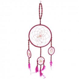 Łapacz snów z 3 obręczami różowy dł 56 cm obręcz 16 cm DC48