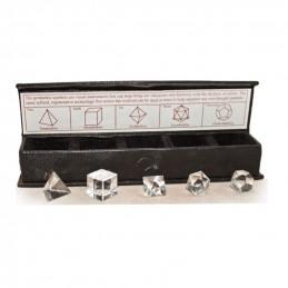 Kolekcja brył platońskich (5 elementów) z kryształu górskiego
