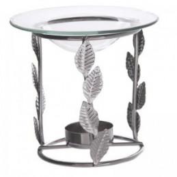 Srebrny Metalowy Świecznik Olejowy Liść 11 x 12 cm