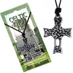 Krzyż z węzła celtyckiego - Naszyjnik na sznurku CELTIC KNOT ART
