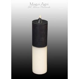 Świeca cofająca czarno - biała (wosk naturalny) 11 x 3 cm