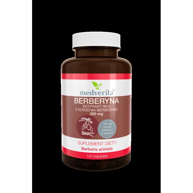 BERBERYNA ekstrakt 98% z korzenia berberysu (120 kapsułek) Medverita (08.2021)