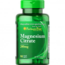 Magnesium citrate /cytrynian magnezu/ 200 mg 90 tabl.Puritan's Pride /06.2021/