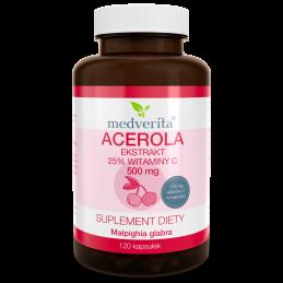 Acerola ekstrakt 25% witaminy C 500 mg (120 kapsułek) Medverita (01.2022)