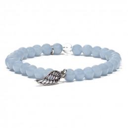 Bransoletka / mala nadgarstkowa (angelit + kryształ górski + skrzydło anioła)