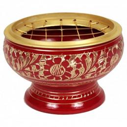 Kadzielniczka indyjska mosiężna czerwona z kratką