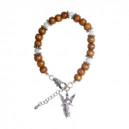 Bransoletka anielska (miniaturka Archanioła Gabriela + drewno + kamień księżycowy)