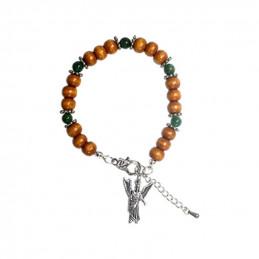 Bransoletka anielska (miniaturka Archanioła Rafaela + koraliki drewniane + zielony awenturyn)