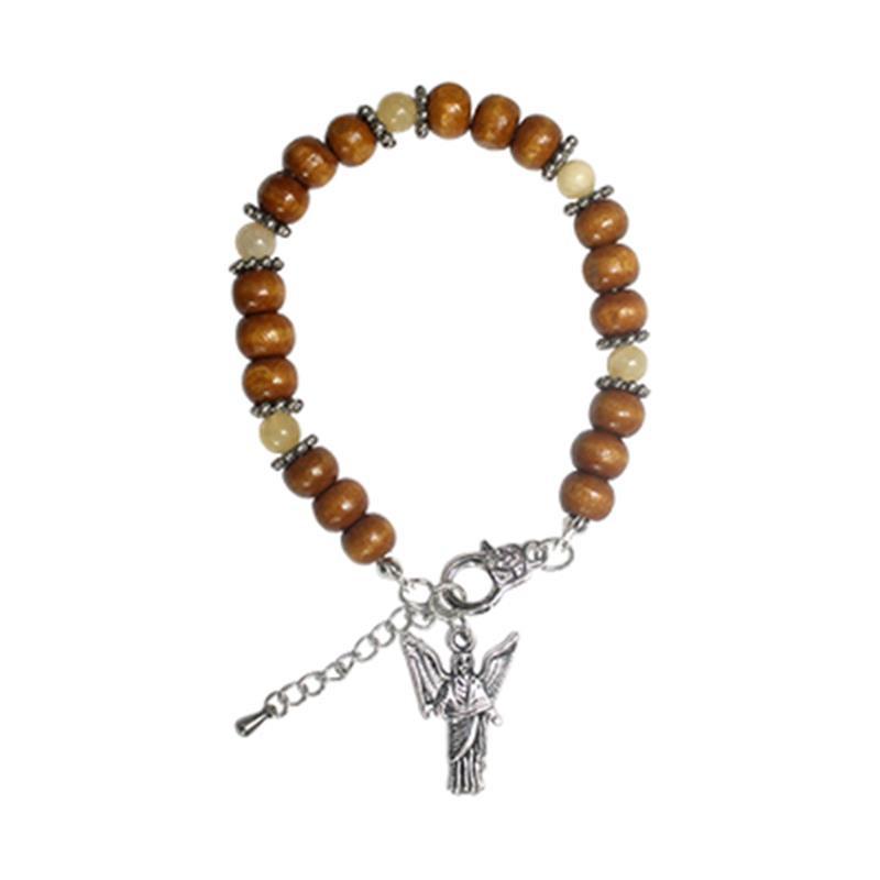 Bransoletka anielska (miniaturka Archanioła Uriela + koraliki drewniane + cytryn)
