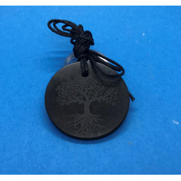 Wisiorek z szungitu - grawer drzewo życia - okrągły 40 mm