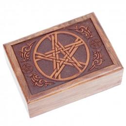 Pudełko na karty tarota PENTANCLE drewniane z czerwoną podszewką