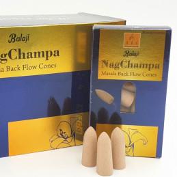 Kadzidełka stożkowe NAG CHAMPA Balaji Malasa (kadzidełka z przepływem wstecznym, zwrotnym)