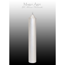 Świeca z wosku - srebrna 10 x 1,8 cm