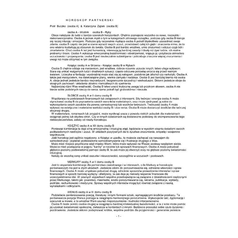 Horoskop porównawczy - wykres+opis elektroniczny