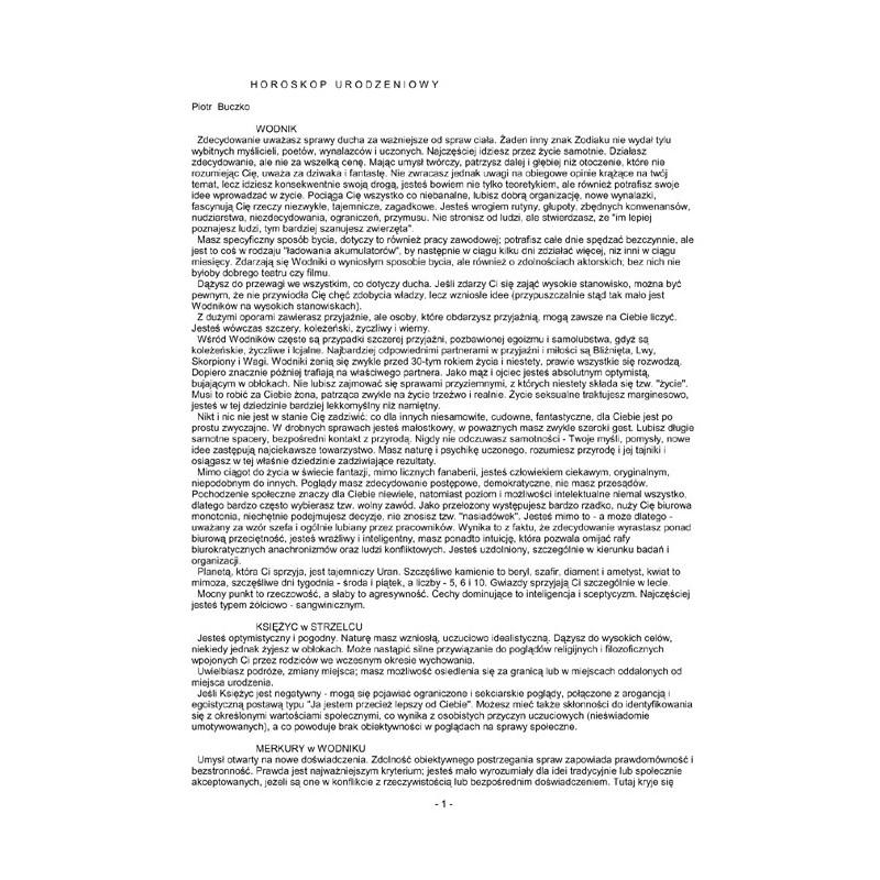 Horoskop urodzeniowy - wykres+opis drukowany